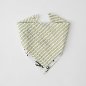 cotton muslin reversible bandana bib green stripe print, side 2