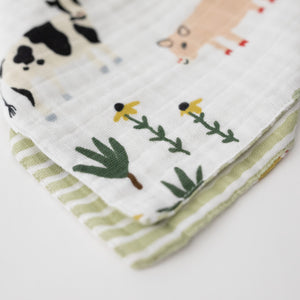 cotton muslin reversible bandana bib with farm animals, side 1