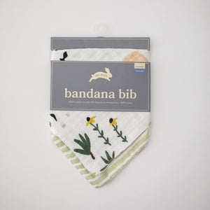 cotton muslin reversible bandana bib family farm print in packaging