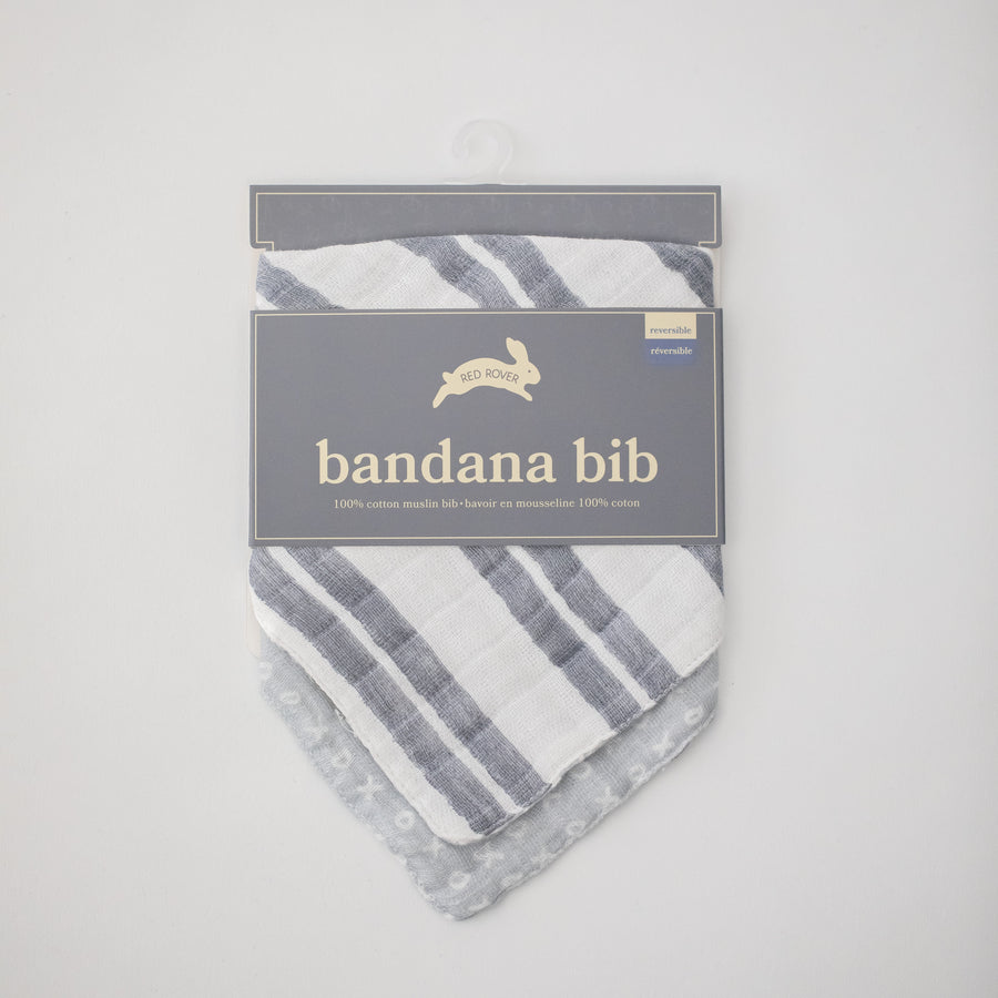 cotton muslin reversible bandana bib with double grey stripe print in packaging