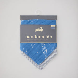 cotton muslin reversible bandana bib with star gaze print in packaging