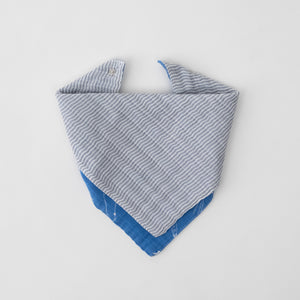 cotton muslin reversible bandana bib with grey micro stripe print. side 2