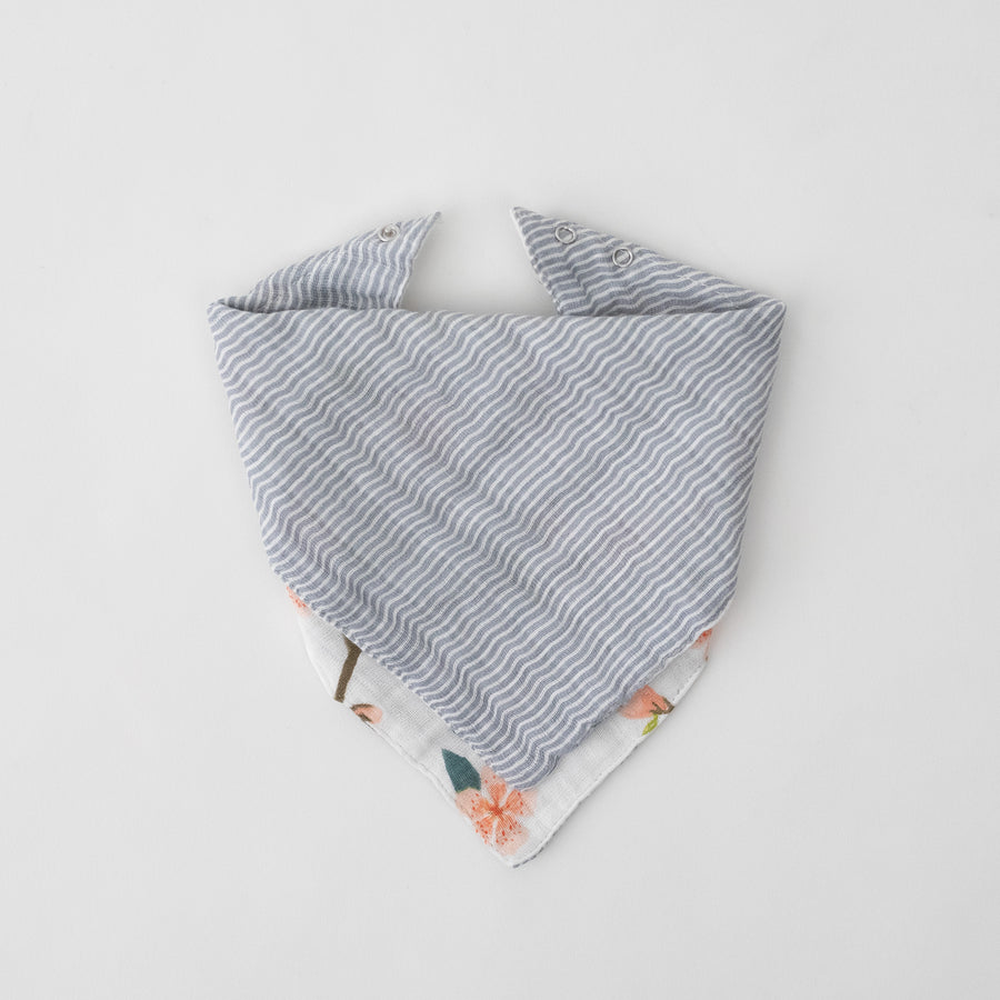 cotton muslin reversible bandana bib grey micro stripe print, side 2