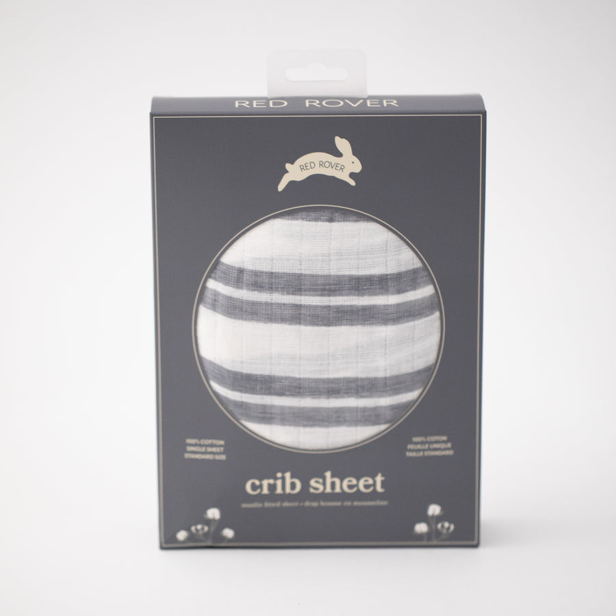 cotton muslin crib sheet double grey stripes on a white background in Red Rover packaging