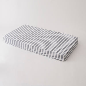 cotton muslin crib sheet double grey stripes on a white background