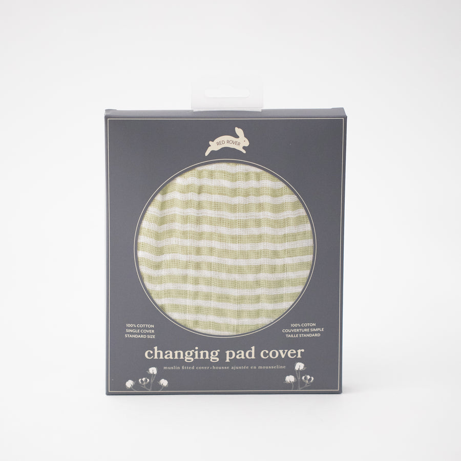 cotton muslin changing pad cover with small olive green stripes in Red Rover packaging