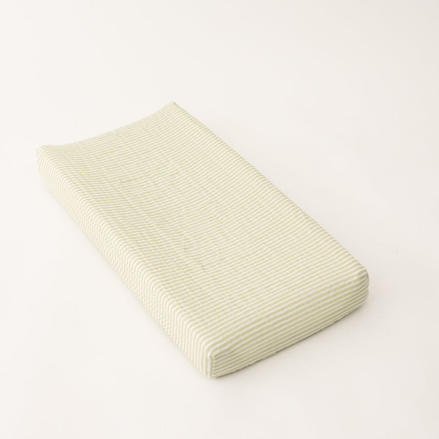 cotton muslin changing pad cover with small olive green stripes