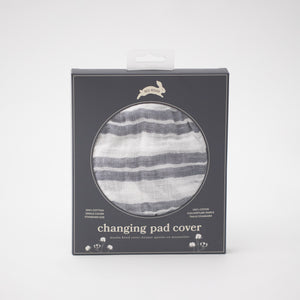 cotton muslin changing pad cover with grey double stripes on a white background in Red Rover packaging