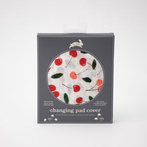 cotton muslin changing pad cover, with red and pink cherries and green leafs in Red Rover packaging