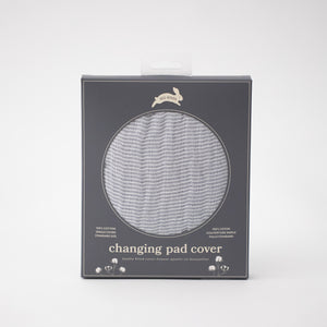 cotton muslin changing pad cover with very small grey stripes in Red Rover packaging