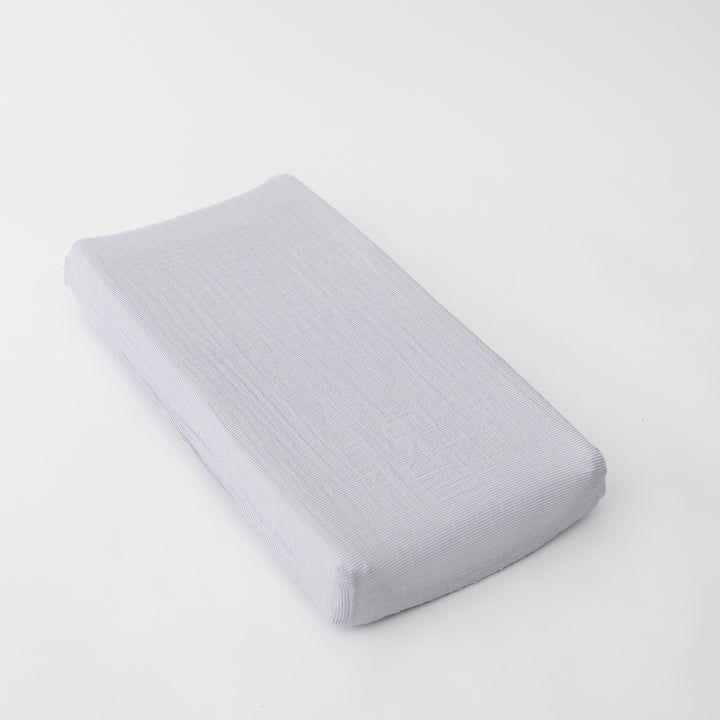 cotton muslin changing pad cover with very small grey stripes