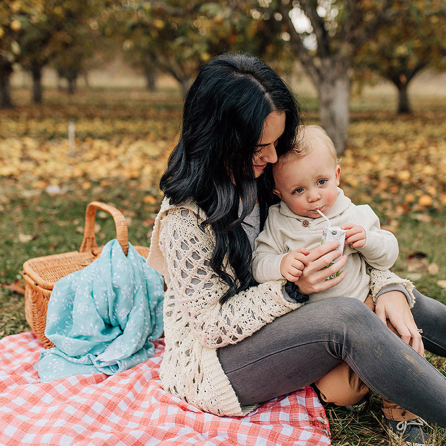 mom holding a baby on a red plaid picnic blanket with teal bud blanket in the background