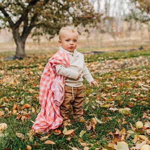 baby holding red plaid swaddle blanket picnic print
