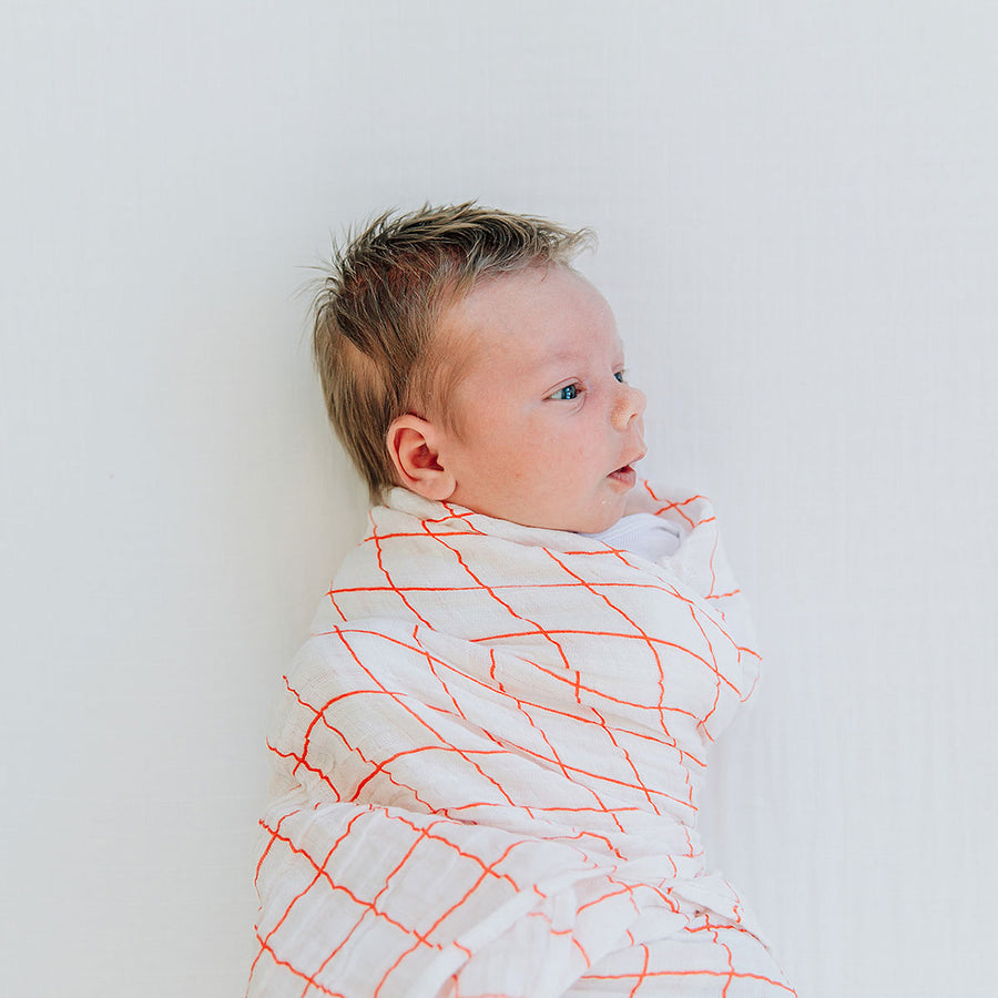 Baby Blanket - Orange Windowpane