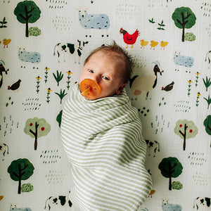 baby swaddled in a green stripe blanket laying on a family farm crib sheet