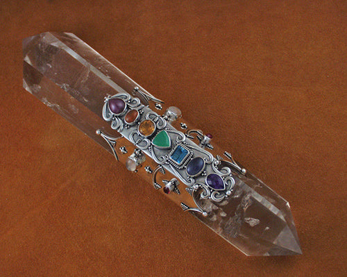 Silver crystal and gemstone wands for healing and for Healing wand