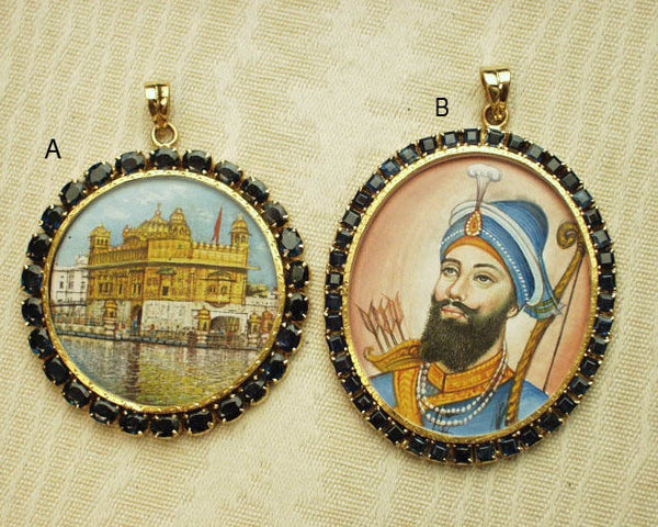Gold and sapphire Golden Temple + Guru Gobind Singh pendants