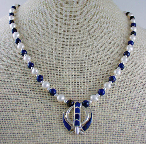 Lapis lazuli, pearl and silver necklace