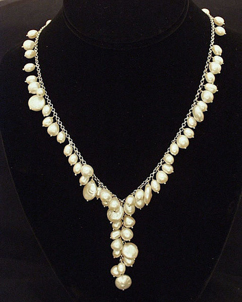 Elegant freshwater pearl silver necklace