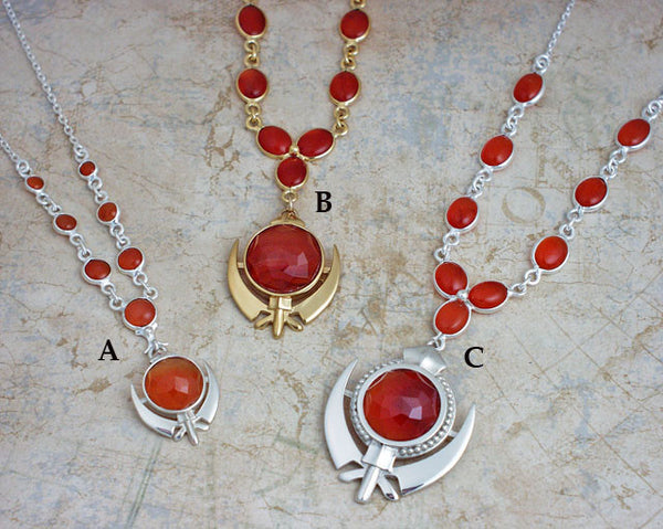 Faceted carnelian adi shakti gemstone necklaces