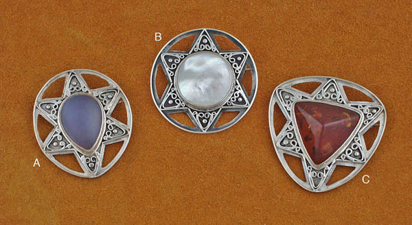 Silver 6 pointed star gemstone and amber pin pendants