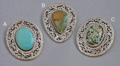 Silver filigree gemstone pin pendants2