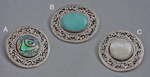 Silver filigree gemstone pin pendants3