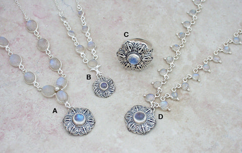Rainbow moonstone necklaces with Talisman pendants and matching ring