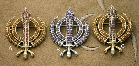 Faceted multi-gemstone adi shakti (khanda) pin