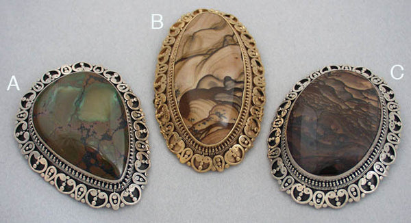 Large gemstone brooches