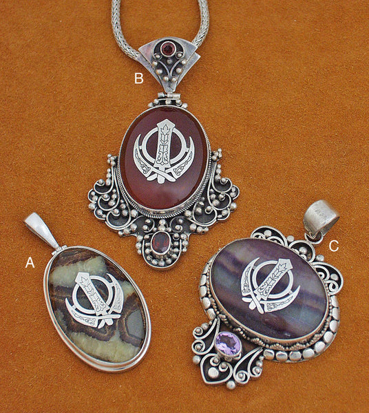 Silver and gemstone large adi shakti pendants