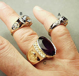 Solid gold rings with gemstones, diamonds and adi shaktis