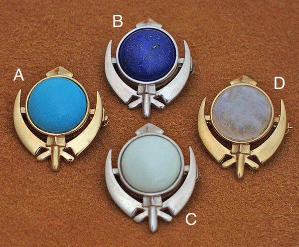 Small adi shakti gemstone pin pendants