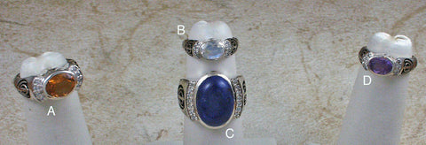 Silver rings with gemstones, diamonds and adi shaktis