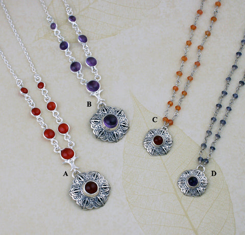 Simple gemstone necklaces with Adi Shakti Talisman pendants