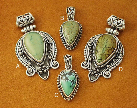 Silver Chinese turquoise pendants