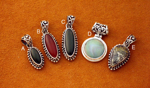 Simple and elegant small silver gemstone pendants