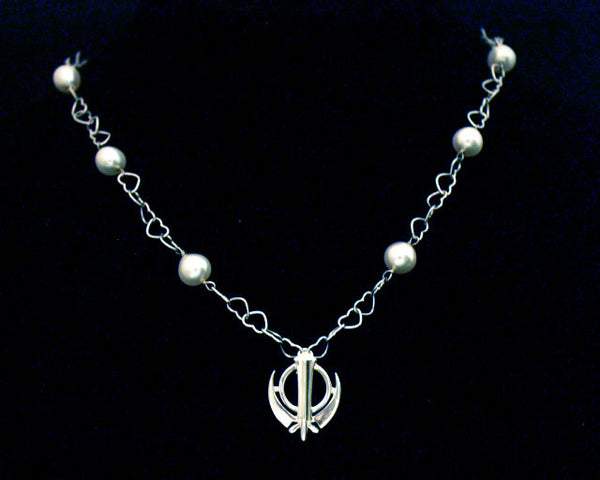 Silver hearts necklace with adi shakti (khanda) and pearls