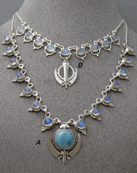 Elegant rainbow moonstone and labradorite adi shakti necklaces