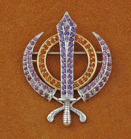 Faceted multi-gemstone adi shakti pin2