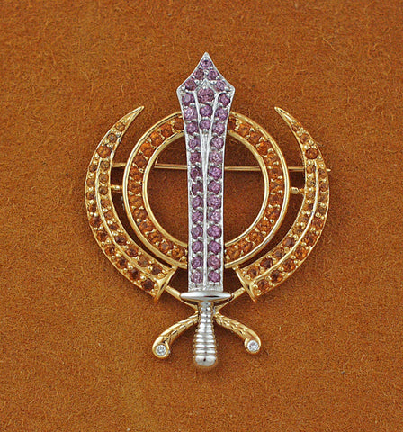 Faceted multi-gemstone adi shakti pin3