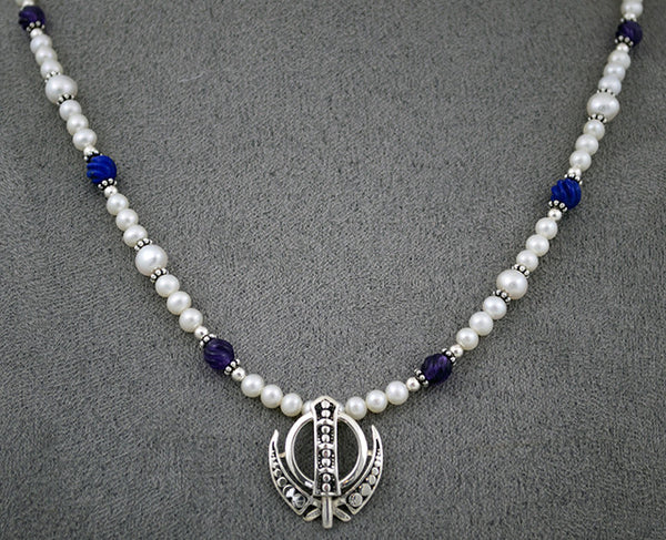Pearl, carved lapis, amethyst and silver Power Necklace