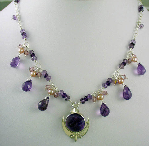 Silver, amethyst and pearl adi shakti necklace