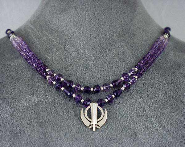 Silver and amethyst bead Adi Shakti necklace