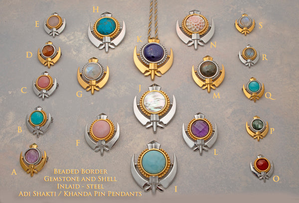 Stainless steel beaded border adi shakti / khanda pin pendants with gemstone and shell inserts