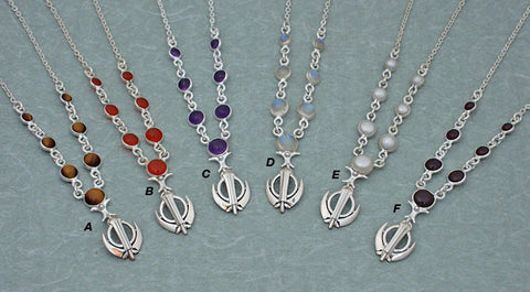 Simple elegant gemstone extra small adi shakti necklaces