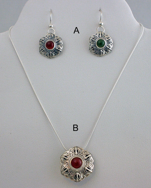 Smaller Adi Shakti Talisman pendants on chains and matching earrings