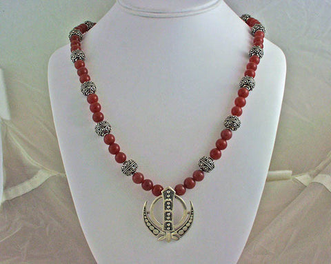 Silver carnelian Adi Shakti Power Necklace