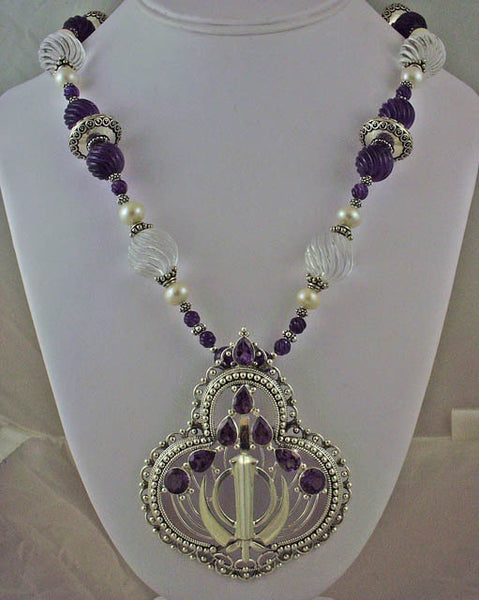 Large silver carved amethyst pearl clear quartz adi shakti necklace