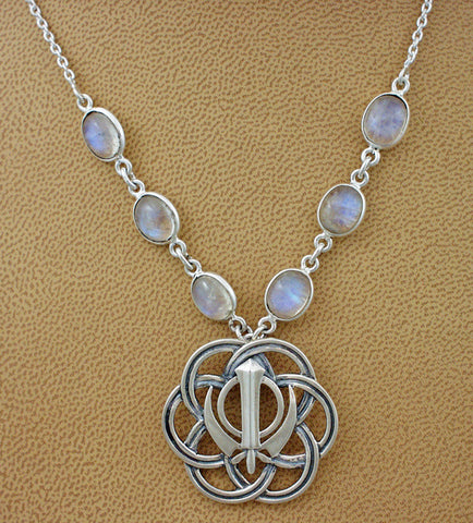 Celtic 'Infinity Knot' Adi Shakti pendants on oval gemstone necklaces